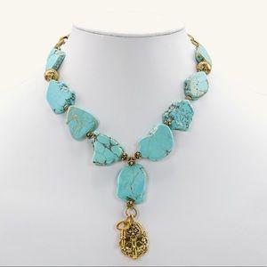 Patricia Nash Lock & Key Turquoise Necklace